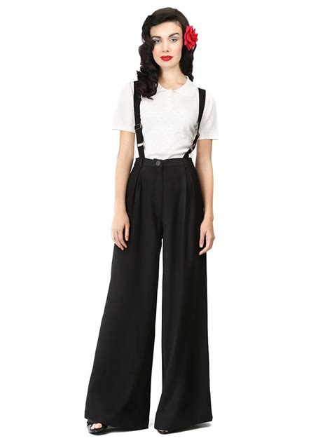vintage style black swing trousers with braces vintage