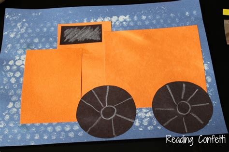 Construction Paper Crafts For Boys - 3 d shape snowplow craft for boys reading confetti