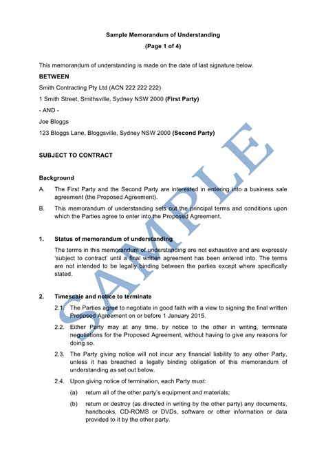 Memorandum Of Understanding Sle Lawpath Mou Document Template