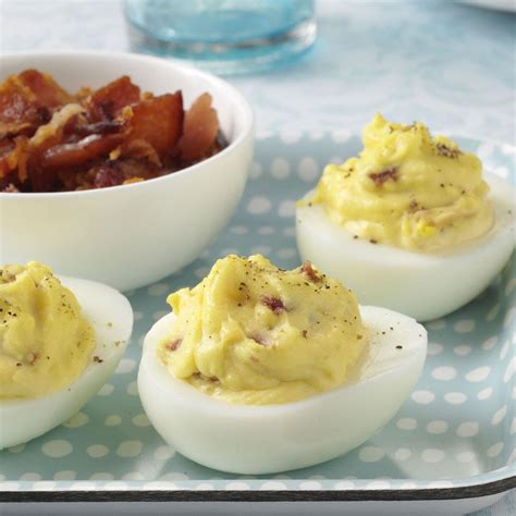 taste of home christmas deviled eggs bacon cheddar deviled eggs recipe taste of home