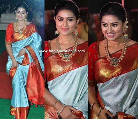 Vinaya Blouse sneha new photos in silk saree at vinaya vidheya rama