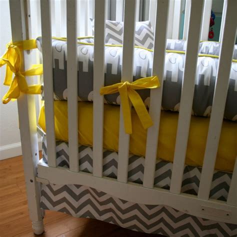 Yellow And Grey Elephant Crib Bedding Made To Order 4pc Gray And White Elephant With Bright Yellow Accents Crib Bedding Set Grey