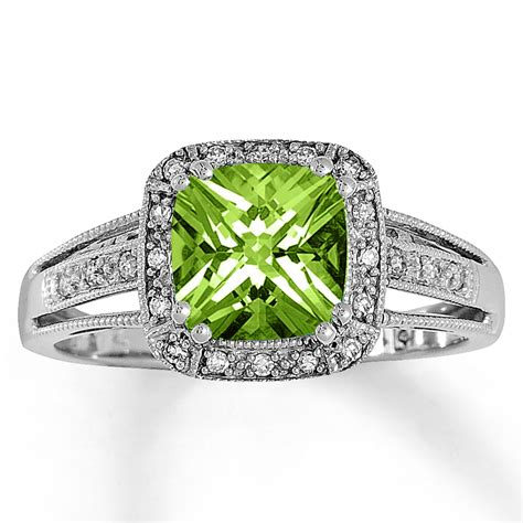 jared peridot ring 1 10 ct tw diamonds 10k white gold