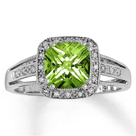 Peridot Rings by Jared Peridot Ring 1 10 Ct Tw Diamonds 10k White Gold