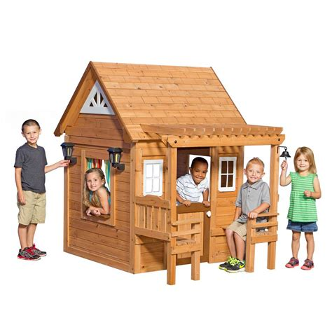 backyard play houses backyard discovery cascade cedar playhouse 1606319com the home depot