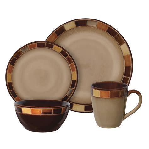 Brown Canister Sets Kitchen gibson convergence 16 pc dinnerware set home dining
