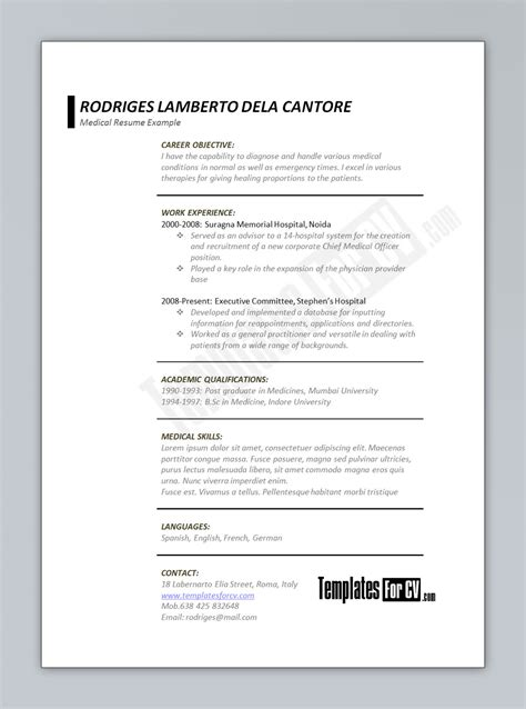 Medical Cv Template Physician Cv Template