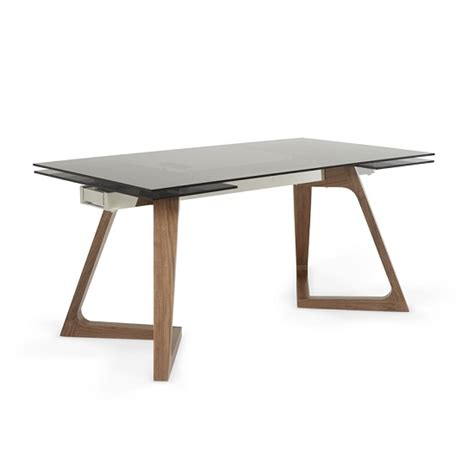 glass and walnut dining table abena extendable glass dining table in smoked with walnut