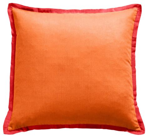 orange outdoor pillow with coral flange outdoor cushions