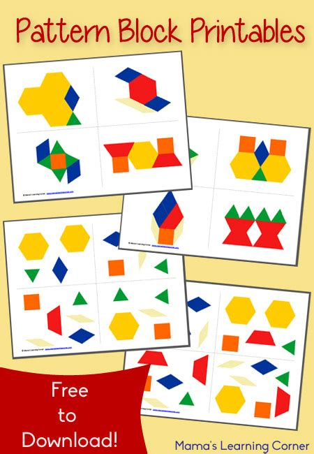 Pattern Learning Games | free pattern block printables mamas learning corner