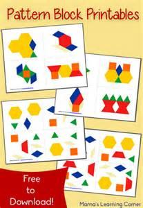 pattern block templates for kindergarten free pattern block printables mamas learning corner