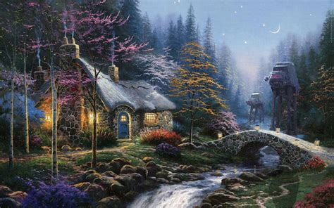 kinkade twilight cottage artist adds wars figures into landscape paintings 171 twistedsifter
