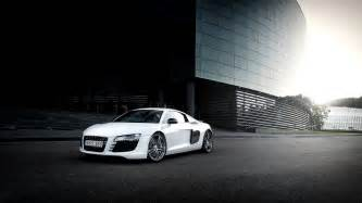 audi r8 white car city glare wallpaper cars