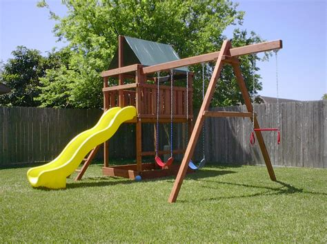 backyard swing plans how to build diy wood fort and swing set plans from jack s