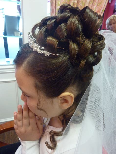 cute hairstyles for first communion communion hair updo kidshairstyling communion ideas