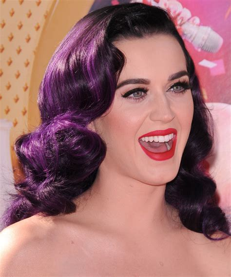 Katy Perry Long Wavy Formal Hairstyle   Purple