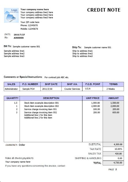 Credit Note Template In Excel Invoice Exle Free Word Excel Invoice Exle Easy Business Software
