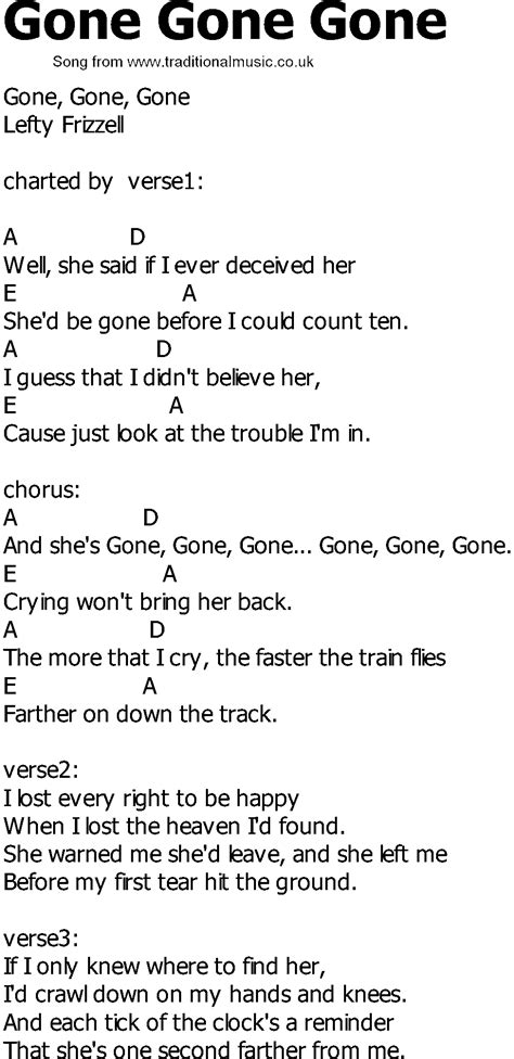 country music gone for good old country song lyrics with chords gone gone gone