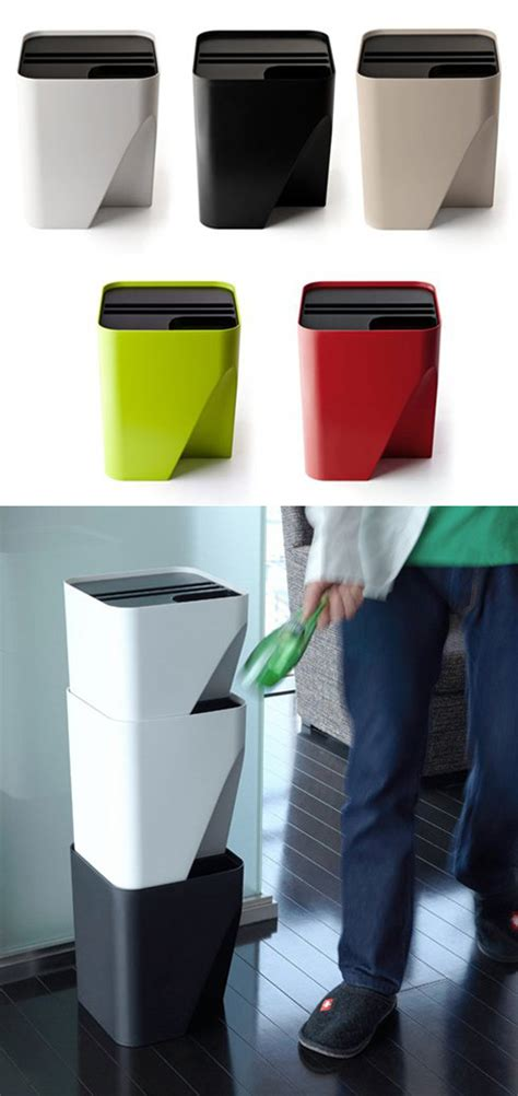 qualy block stacking collection cans for space tight - Kitchen Trash Cans For Small Spaces