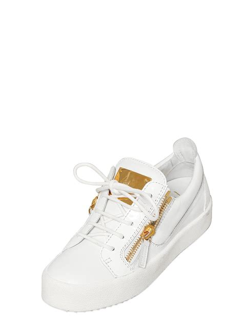 white giuseppe zanotti sneakers giuseppe zanotti 20mm leather sneakers in white lyst