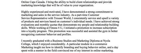 Cover Letter Bc Canadian Cover Letter Exle Cover Letter Template