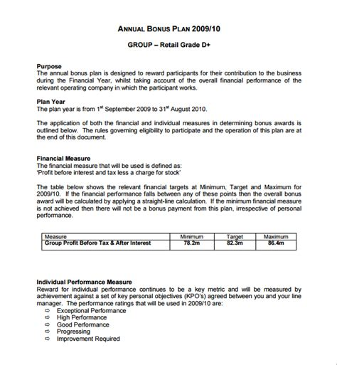 bonus plan template sle bonus plan template 7 free documents in pdf