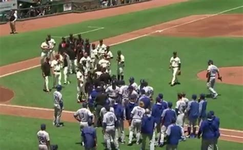 baseball benches clear clayton kershaw warms up during benches clearing incident