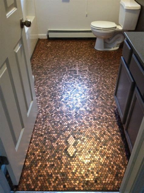 bathroom floor pennies how to make a penny floor renovate a bathroom for under 400