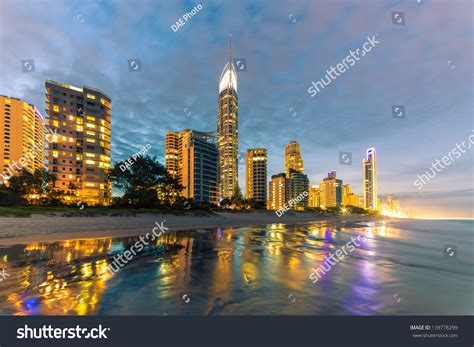 lights on the gold coast evening lights on surfers paradise stock photo