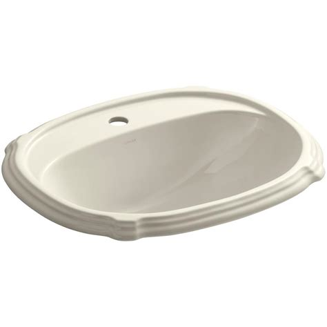 almond bathroom sink kohler archer drop in vitreous china bathroom sink in