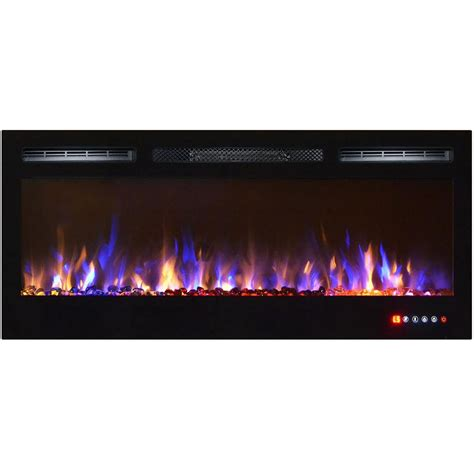 electric fireplace with glass crystals bombay 36 inch recessed touch screen multi color