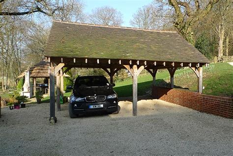 Oak Car Port by Oak Two Bay Open Car Port