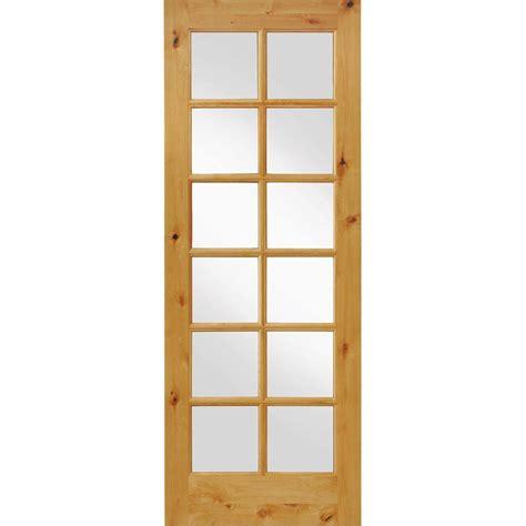 prehung interior wood doors krosswood doors 36 in x 96 in knotty alder 12 lite low e insulated glass solid left wood