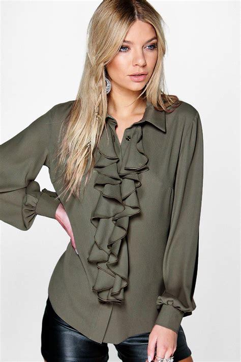 Ruffle Blouse ruffle blouse ebay leopard trim blouse