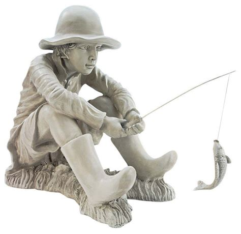 fishing fisherman statue traditional garden