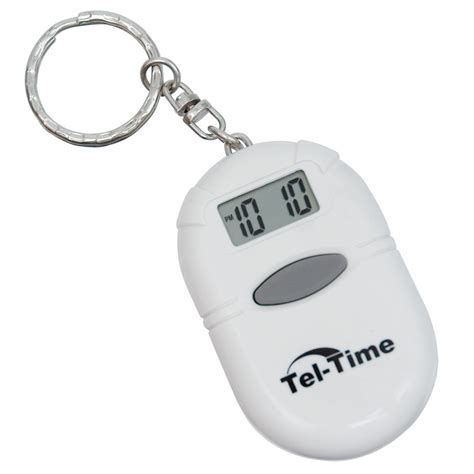 maxiaids oval talking alarm clock keychain white
