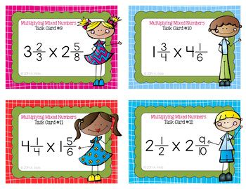 multiplying fractions using cards template fraction task cards multiplying mixed numbers by alvis