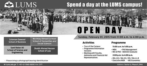 Mba Lums Admission 2015 by Spend A Day At Thelums Cus Open Day For Admissions