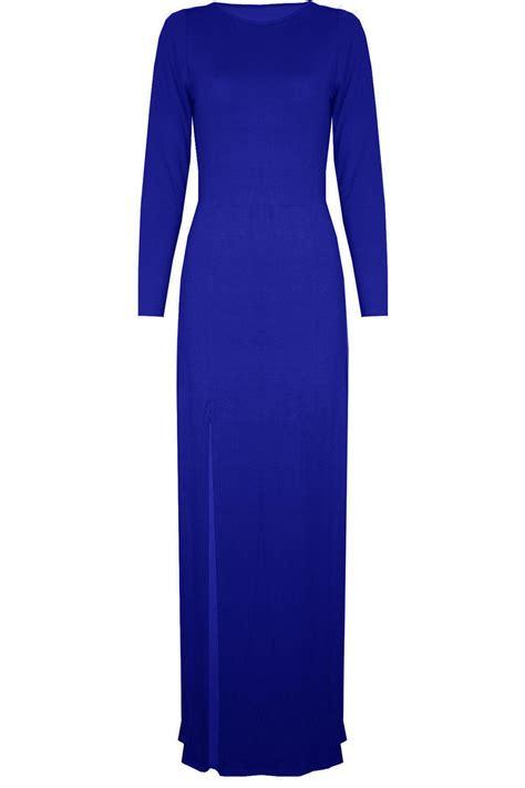cutout plain top womens plain maxi dress side split slit neck
