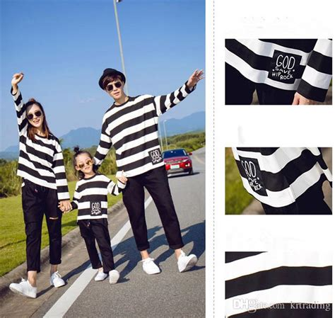 Family Matching Striped Pullover family matching look striped t shirt sleeve pullover