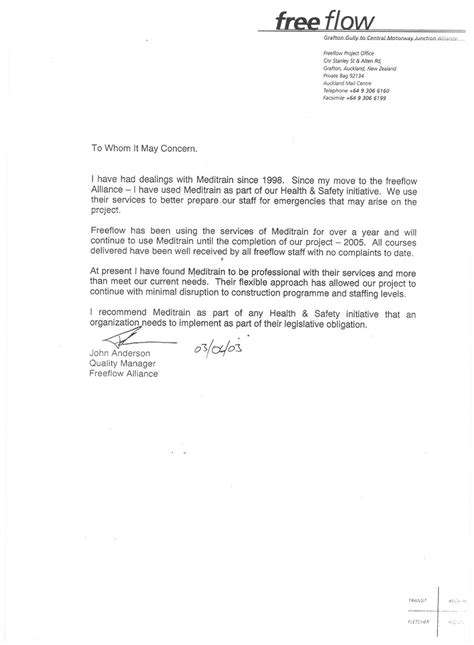 Reference Letter From Employer Nz Meditrain Ltd About Us