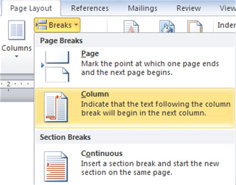 insert a section break inserting a column or section break