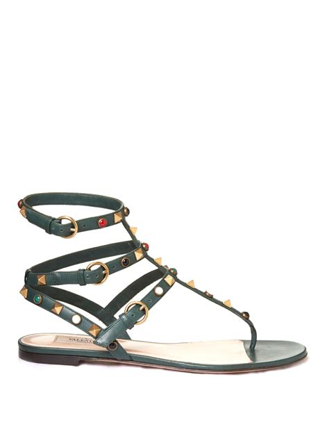 valentino flat sandals valentino rockstud rolling leather flat sandals in green