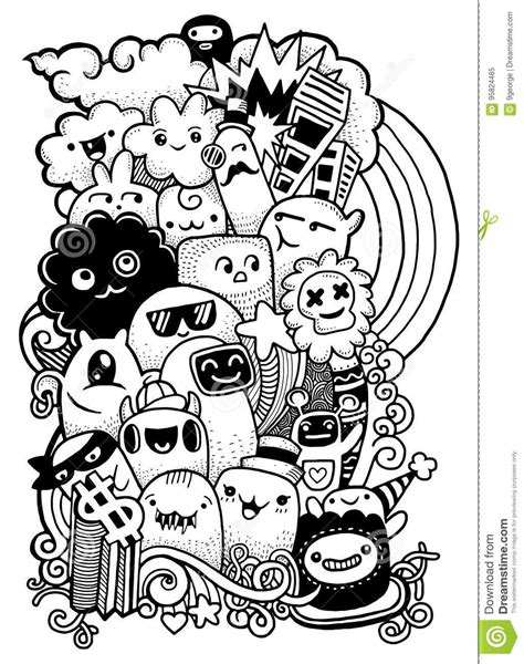 doodle monsters vector free doodle drawing