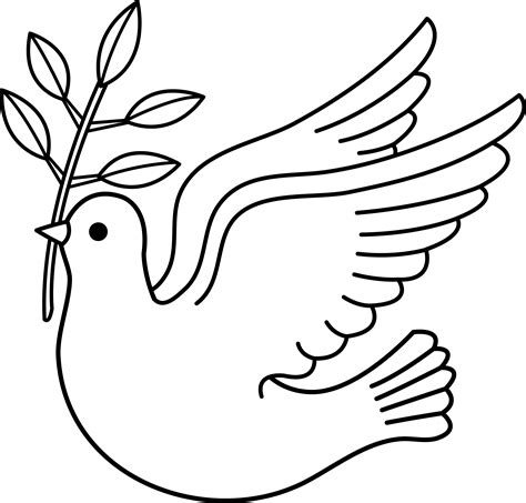 Peace Dove Line Art Free Clip Art Peace Dove Coloring Page