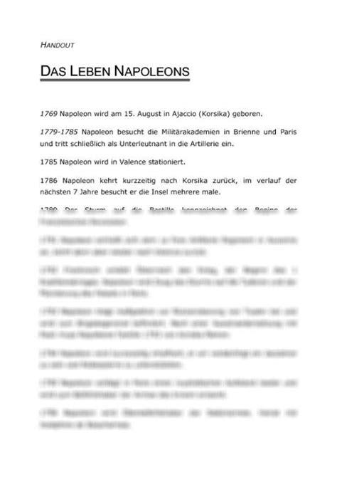 Lebenslauf Napoleon Vorschaubilder Handout Das Leben Napoleons Chronologischer Lebenslauf Handout Zu Referat