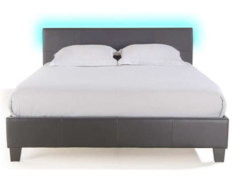 lit adulte led lit adulte 140x190 cm avec led bloom light coloirs gris