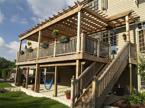 second story deck plans pictures 2 story descks and pergolas story pergola backyard
