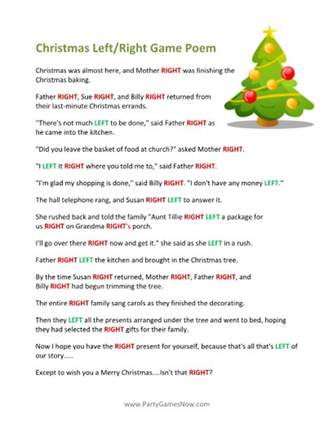 left right across gift exchange story printable left right poem poem gaming and