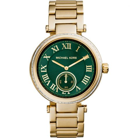 michael kors gold tone skylar with green